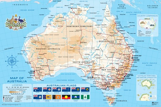 Australia Map Poster.Australian Map 2013 Poster 60x90cm New Australian Flags Ebay
