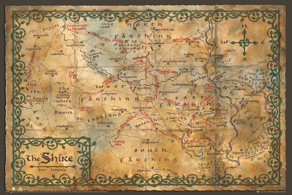 The-Hobbit-Map-Of-The-Shire-POSTER-61x91cm-NEW