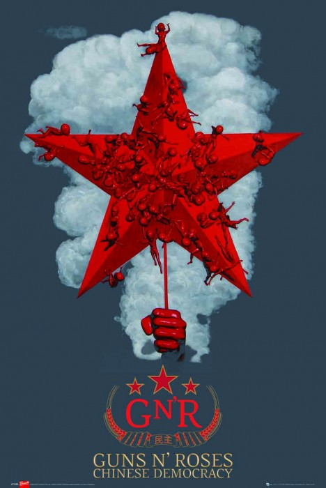 Guns-Roses-Chinese-Democracy-POSTER-60x90cm-NEW-album-cover-red-star-artwork