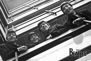 The-Beatles-Balcony-B-W-POSTER-60x90cm-NEW-John-Lennon-Paul-George-looking-down