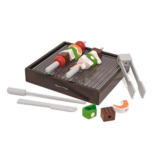 Melissa-and-Doug-Wooden-BBQ-Grill-Set-NEW-role-play-food-cook-prawns-meat