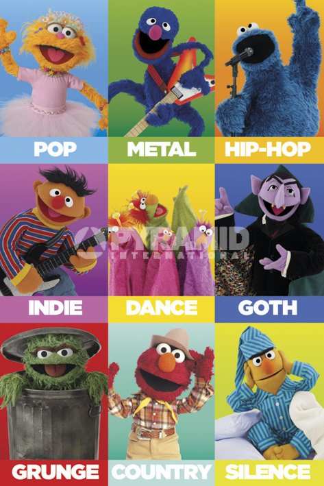 Sesame-Street-Music-Genres-POSTER-60x90cm-NEW-Grover-Ernie-Elmo-Cookie-Monster