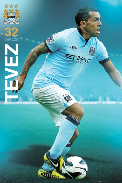 Manchester City No. 32 Carlos Tevez 2012 POSTER 60x90cm NEW * EPL soccer star