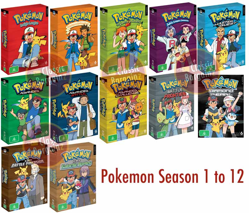 Pokemon Seasons 1 to 12 Box Set * 72-discs * New