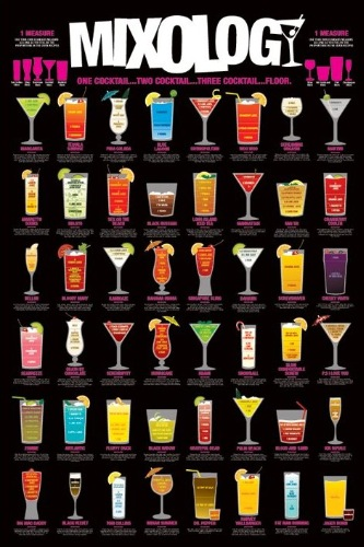 Mixology poster 60x90cm cocktail alcoholic drinks types for Names of mix drinks