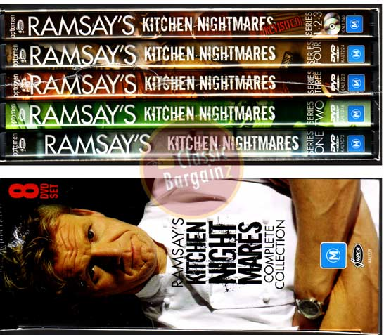 RAMSAY'S KITCHEN NIGHTMARES 1+2+3+4+Revisited=8-DVD NEW